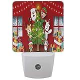 LINGF Weihnachten Weihnachtsmann Nachtlicht Set von 2 Frohes neues Jahr Plug-in LED Nachtlichter Auto Dämmerungssensor Lampe für Schlafzimmer Badezimmer Küche Flur