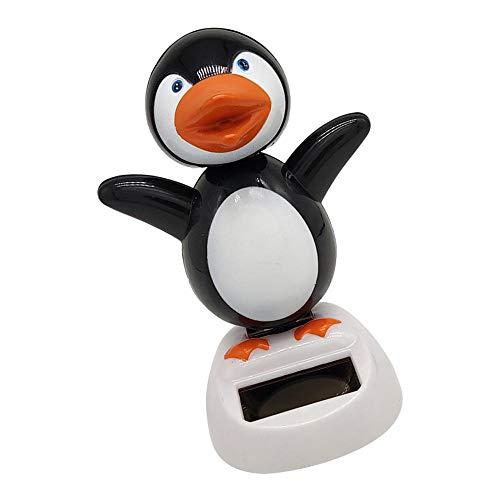 perfeclan Solar Wackelfigur Kunststoff Solarbetrieben Tanzende Pinguin/Mumie/Huhn Solarfigur Dekofigur Autodekoration - Pinguin