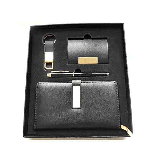 Gift Set Leather Stationery Journal with Pen Business Card Case and Key Chain (Black)