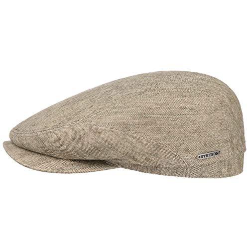 Stetson Belfast Cotton-Mix Flatcap Herren - Made in EU - Schirmmütze gefüttert - Schiebermütze mit Leinen und Baumwolle - Mit integriertem Sonnenschutz - Frühjahr/Sommer beige 58 cm