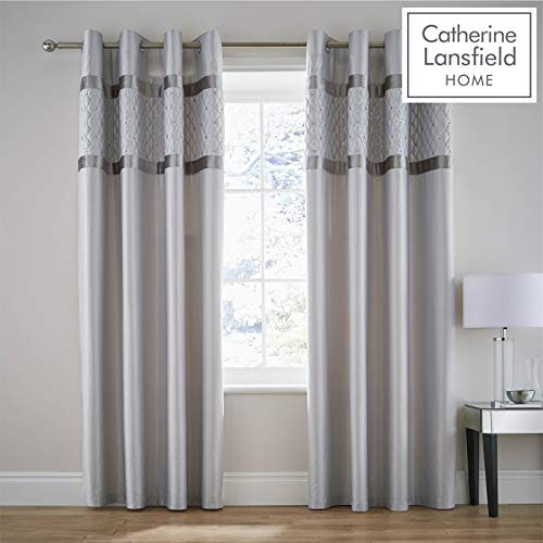 Catherine Lansfield Sequin Cluster Cortinas con Ojales, Plateado, Eyelet Curtains-66x90 Inch