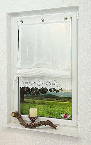 LYSEL Raffrollo/Raffgardine Landhausstil (Bx H) 80cm * 150cm weiß