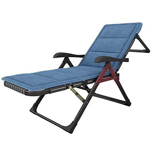 Sunloungers Liege, Home Leisure Nickerchen Stuhl, Büro Klappstuhl, Sofa Rückenlehne, mit grau und blau Cord Kissen, kann flach verwendet Werden