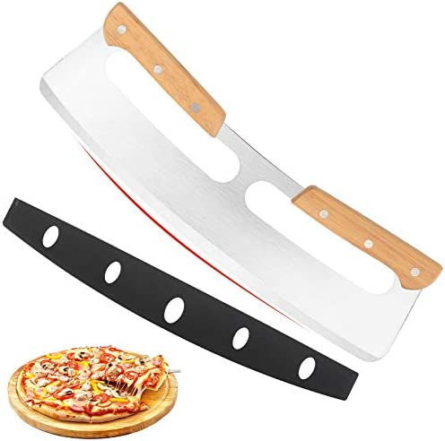 14 Pizza Cutter Rocker with Wooden Handles Sharp Stainless Steel Pizza Slicer Knife Blade with product image
