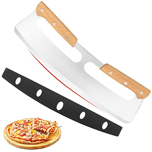 """14"""" Pizza Cutter Rocker with Wooden Handles, Sharp Stainless Steel Pizza Slicer Knife Blade with Protective Cover, Upgrade Accessories Chopper for Pie Pizza Making Kit by Lascritta (14 inches)"""