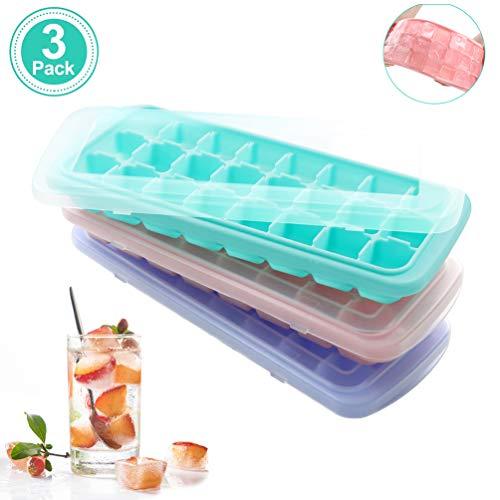 Usetcc Eiswürfelform Silikon Mit Deckel, 3 Stück Eiswürfelbehälter Mit Deckel Ice Cube Tray, LFGB Zertifizier, Multifunktionale Stapelbar Eiswürfelschalen Eiswürfel Silikon Babynahrung, 24-Fach
