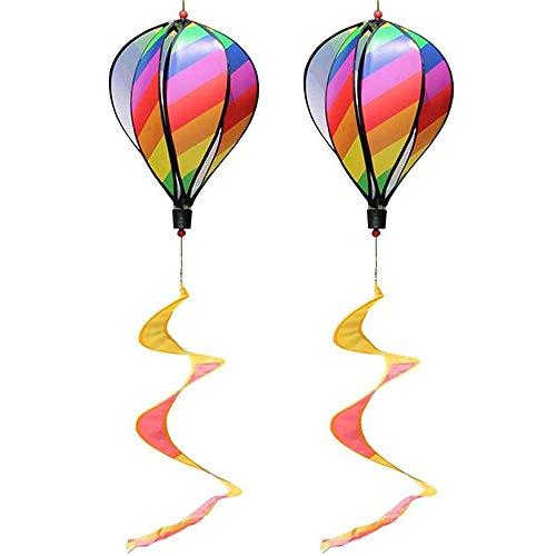 cherrypop 2PCS Balloon Wind Spinner Striped Windsock Balloon Yard Decor Spiral Balloon Windmill