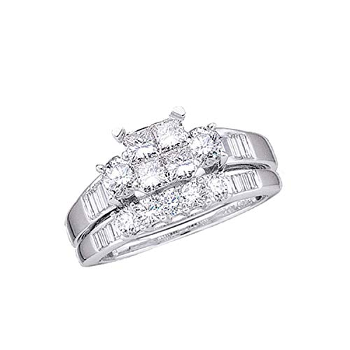 Dazzlingrock Collection Juego de anillos de boda de 1 quilate con diamantes de princesa de 1 quilate, oro blanco de 10 quilates