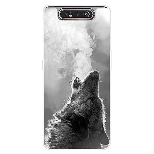 Urhause Kompatibel mit Galaxy A80/A90 Hülle TPU Silikon Bunt Schutzhülle,[Transparen Karikatur Silikonhülle] Hülle Gemalt,Ultra Slim Durchsichtig mit Muster Bumper Stoßfest Hülle,Wolf