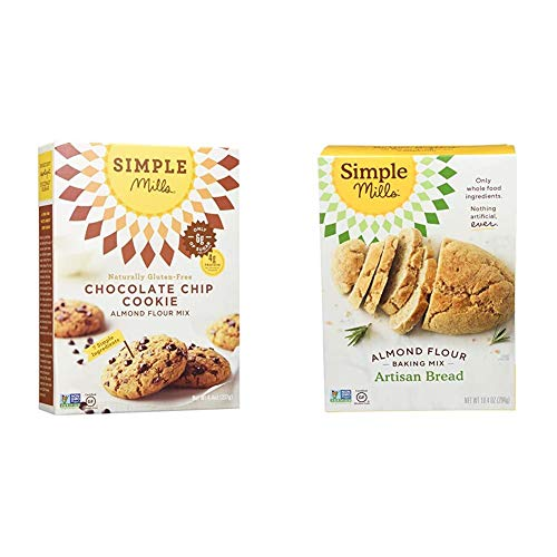 Simple Mills Almond Flour Baking Mix, Gluten Free Chocolate Chip Cookie Dough Mix, Made with whole foods & Almond Flour Baking Mix, Gluten Free Artisan Bread Mix, Made with whole foods