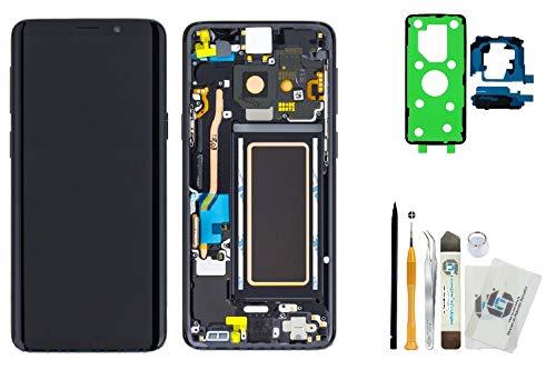 ITG® Original Display Reparatur-Set für Samsung Galaxy S9 SM-G960F Schwarz (Midnight Black) – Original Samsung Full Displayeinheit (Service Pack) GH97-21696A + Akkudeckel 3M Klebefolie + Werkzeug-Set