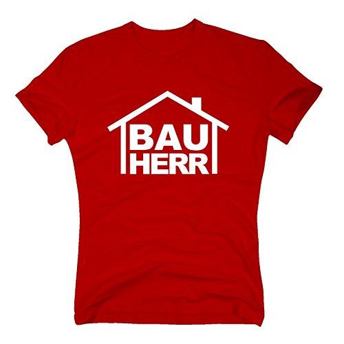Fun T-Shirt Motiv Bauherr rot M