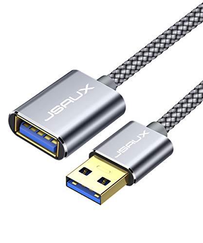 JSAUX USB 3.0 Verlängerung Kabel 1M, USB A Stecker auf A Buchse Nylon Verlängerungskabel 5Gbps Superschnelle mit Vergoldeten Kontakte für Kartenlesegerät,Tastatur, Drucker, Scanner,Kamera usw - Grau