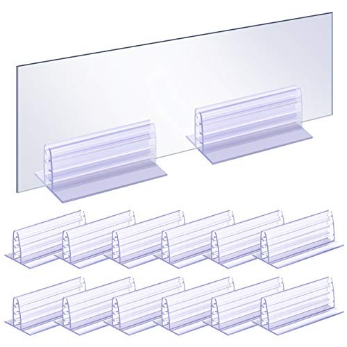 Canomo 12 Packs Adhesive Acrylic Panels Holder, Heavy Duty Plexiglas Holder, Sign Card Holder Gripper Fits 1/8' to 1/5' Thick Panels, 3 x 1.6 x 1.25 Inches, L x W x H