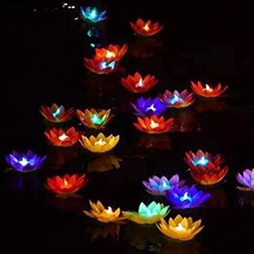 Uonlytech LED Schwimmlicht, Lotus Flower Wishing Teich Licht, Lotus Pool Licht für Schwimmbad Teich (6 Stück)