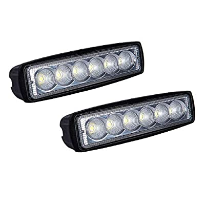 WOWLED 18W 6 Inch CREE LED Flood Lamp Work Driving Light for SUV ATV Boat Truck