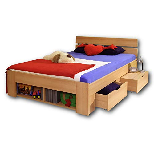 PINTO Stilvolles Kojenbett 140 x 200 cm - Komfortables Jugendzimmer Doppelbett in Buche Optik - 145 x 86 x 204 cm (B/H/T)