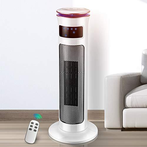 KIVEL Elektroheizung mit Zeitschaltuhr - Turm Heizlüfter Niedrigenergie - Keramik Heizkörper mit Thermostat - Fernbedienung - 3 Windmodi - 120° Oszillation - LED-Atmosphärenlicht - Für zu Hause,White