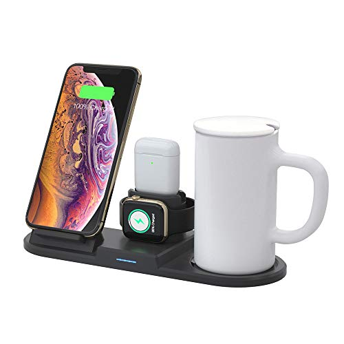 ZYD 4 in 1-Kaffeetasse-Wärmer-Wireless-Ladegerät 15W Qi Ladestation Dock-Station für iPhone 11 XS XR X 8 Apple Watch Airpods Pro schwarz