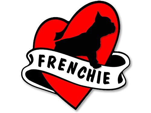 MAGNET 4x4 inch Heart & Banner Shaped FRENCHIE Sticker - dog french funny bulldog love Magnetic vinyl bumper sticker sticks to any metal fridge, car, signs