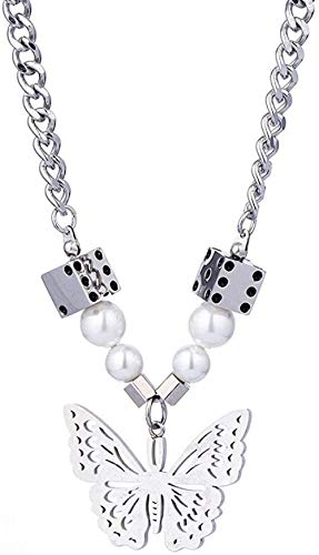 Liuqingzhou Co.,ltd Collar Mariposa Colgante Cubo Collar de Costura Personalidad Hombres y Mujeres Collar