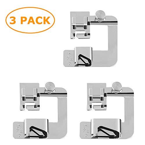 Juego de 3 prensatelas para máquina de coser con dobladillo enrollado (4/8 pulgadas, 6/8 pulgadas, 8/8 pulgadas) ajustable y ancho para pies de dobladillo