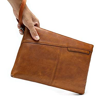 NIUCUNZH Genuine Leather Mens Clutch Bag Man Purse Handbag 12 inches Large Hand Bag Big Clutch Wallet Dye Brown