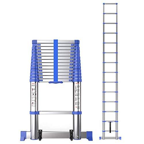 ZSPSHOP Telescopische Ladder Aluminium Met Stabilisator Bar, Loft Indoor Outdoor Office Uitklapbare Uitklapbare Ladders, Heavy Duty & Draagbaar, Laad 330 Lbs