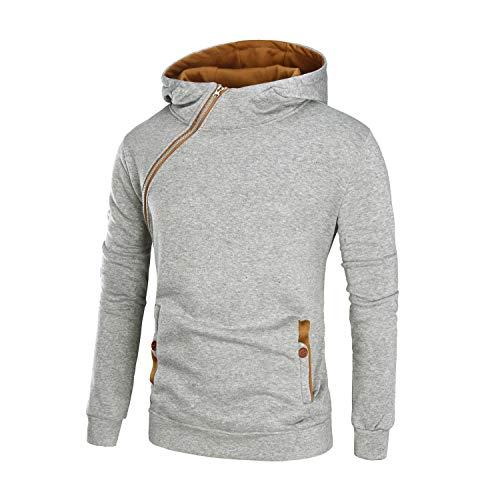Mannen vis Plain Die Nieuwe mannen Casual trui slagkleur met capuchon dikke schuine rits jas side Zipper Buckle Norm (color : 5, size: M)