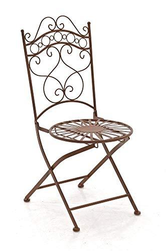 CLP Silla de Jardín Plegable Indra I Silla Plegable en Hierro I Silla de Exterior en Estilo Rústico I Color:, Color:Antiguo marrón