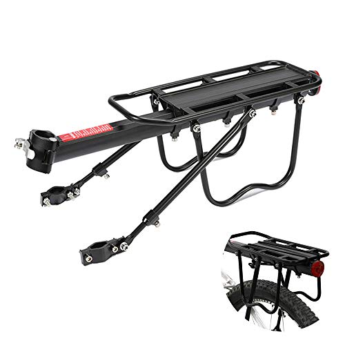 ZPFQFC Lightweight Bike Cargo Rack with Reflector Lamp, Large Capacity, Quickly Install for Accessories Storage, Luggage Carrying, Fit Road Bikes, Mountain Bikes