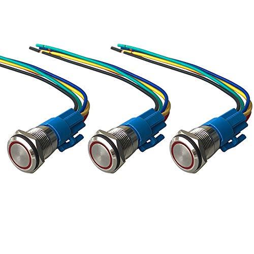 QitinDasen 3Pcs Premium 12V / 24V 5A Interruptor de Botón Momentáneo, 19mm Interruptor de Botón Metálico, LED Rojo Interruptor Pulsador Impermeable IP67 con Enchufe de Cable