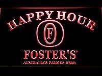 Foster's Happy Hour LED看板 ネオンサイン ライト 電飾 広告用標識 W40cm x H30cm レッド