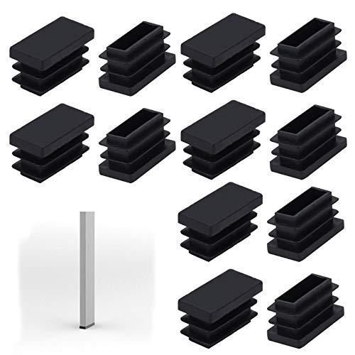 Pulluo 24 Piezas Tapas Rectángulo de Plástico para Tuberías Negro Tapones Para Tubos 26 MM de Largo y 13 MM de Ancho Tapones de inserción para Pies de Mesa Sillas Muebles