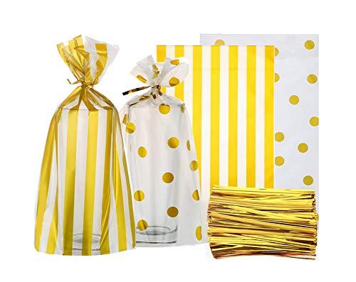 Fully Lot de 100 sacs d'emballage en cellophane pour pâtisserie, pain, cookies, friandises + 100 attaches torsadées