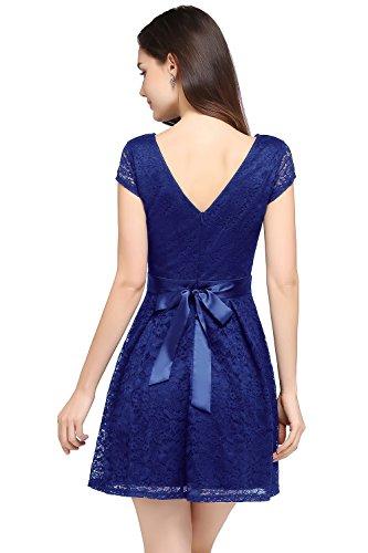 MisShow Damen Tanzkleid Elegante Cocktailkleid Kurzarm Partykleid Spitzenkleid Rockabilly Kleid GR. 38
