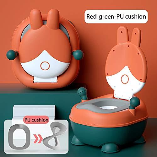 CXYY Pot pour Bébé, Siège D'entraînement Amusant pour Bébé Garçon Et Fille - Stable Et Confortable pour Votre Tout-Petit,Red Green PU Pad