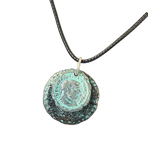 Hellery - Collar con Colgante de Aleación de Metal Antiguo, Cadena de Cuerda de Cera Negra de 35'