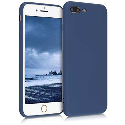 kwmobile Funda Compatible con Apple iPhone 7 Plus / 8 Plus - Carcasa de Silicona TPU para móvil - Cover Trasero en Azul Oscuro
