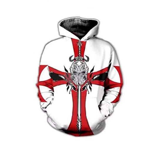 Disfraz de Sudadera con Capucha de Caballero templario Medieval para Hombre Disfraz de Cruzado con Estampado 3D Caballero Cruzado Armadura Cosplay Sudadera de Manga Larga Sudadera con Chaqueta