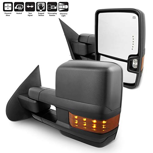 For 14-18 Silverado Sierra Pair of Power Fold + Heated + Turn Signal Glass Side Black Texture Towing Mirrors