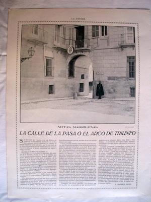 Antigua Hoja Revista - Old Magazine Sheet : LA CALLE DE LA PASA O EL ARCO DE TRIUNFO, MADRID. Año 1914