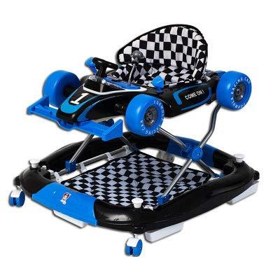 RHSMW Anti-Rollover Multifunktional Zusammenklappbar Walker Baby Kleinkindwagen Einstellbar Kinderspielzeug Wagen,Blau