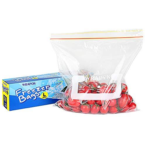 WRAPOK Freezer Bag Gefrierschrank Tasche Lebensmittel Lagerung Taschen Gallonen Reißverschluss Taschen BPA frei - 10,5 x 11 Zoll - 50 Stück