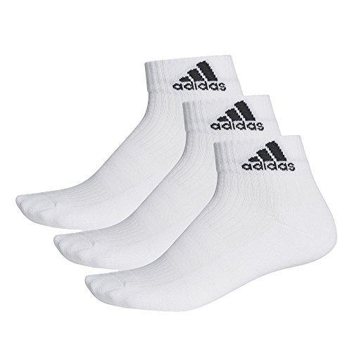 Adidas 3-Bandes Performance Socquettes (Lot de 3 ) Blanc/Blanc/Noir FR : S (Taille Fabricant : 31-34)