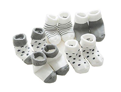 IKRR 5 piezas Baby's Socks Calcetines para Bebes Algodón Gris,0-6Meses