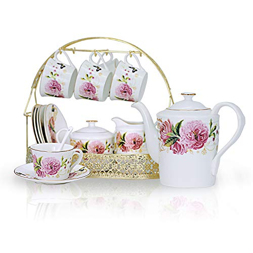 ufengke 15 Piece European Ceramic Tea Sets,China Coffee Set with Metal Holder,Colorful Rose Painting Straight Coffee Tea Pot