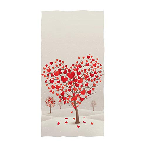 Naanle Fashion Heart Shaped Trees Print Mother's Day Valentine's Day Wedding Soft Guest Hand Towels...