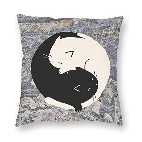 Heart Eyes Yin Yang Cats Square Throw Pillow Case Cushion Case For Home Decor