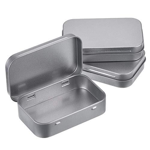 MUCHENG - Juego de 3 Cajas rectangulares de Metal Plateado con bisagras, Cajas de Almacenamiento pequeñas, Caja de Regalo para Manualidades, Organizador del hogar